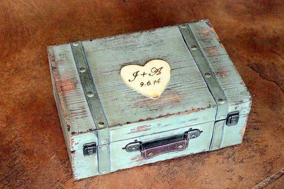 Wedding Card Box Trunk Wine Love Letter Ceremony Anniversary Rustic Shabby Chic Vintage Wedding Custom mint blue robbins egg antique suitcase card box