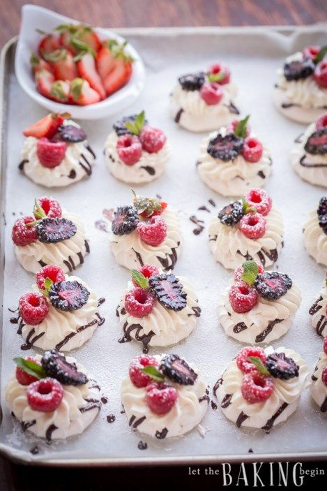 Mini Boccone Dolce - Meringue Nests filled with Vanilla Whipped Cream, Berries and Chocolate | Let the Baking Begin!