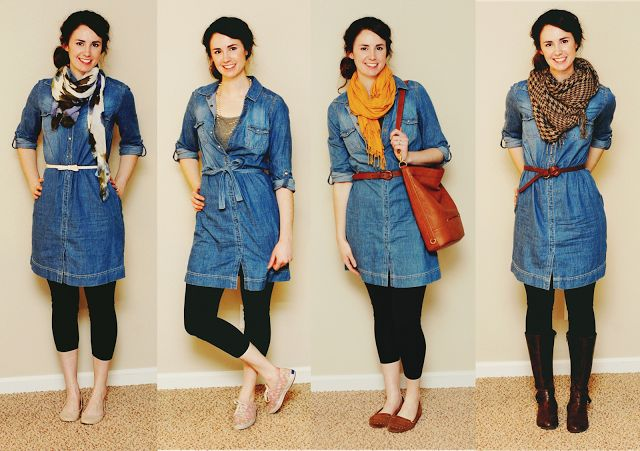 One outfit, four seasons - change up accessories to wear a chambray dress and leggings all year round. Good ideas on how to wear my shirtdress