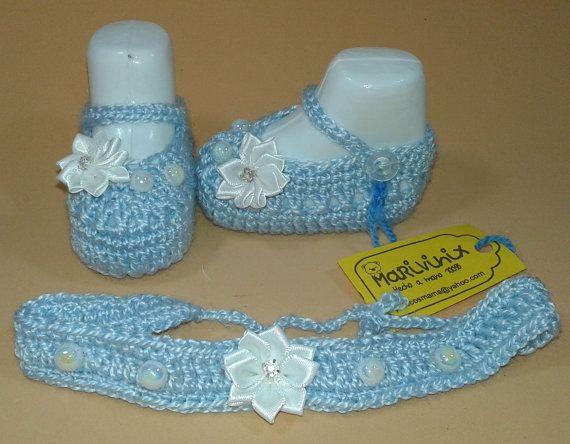 Patucos zapatos con diadema  baby bebe shoes bebe por Marivinix