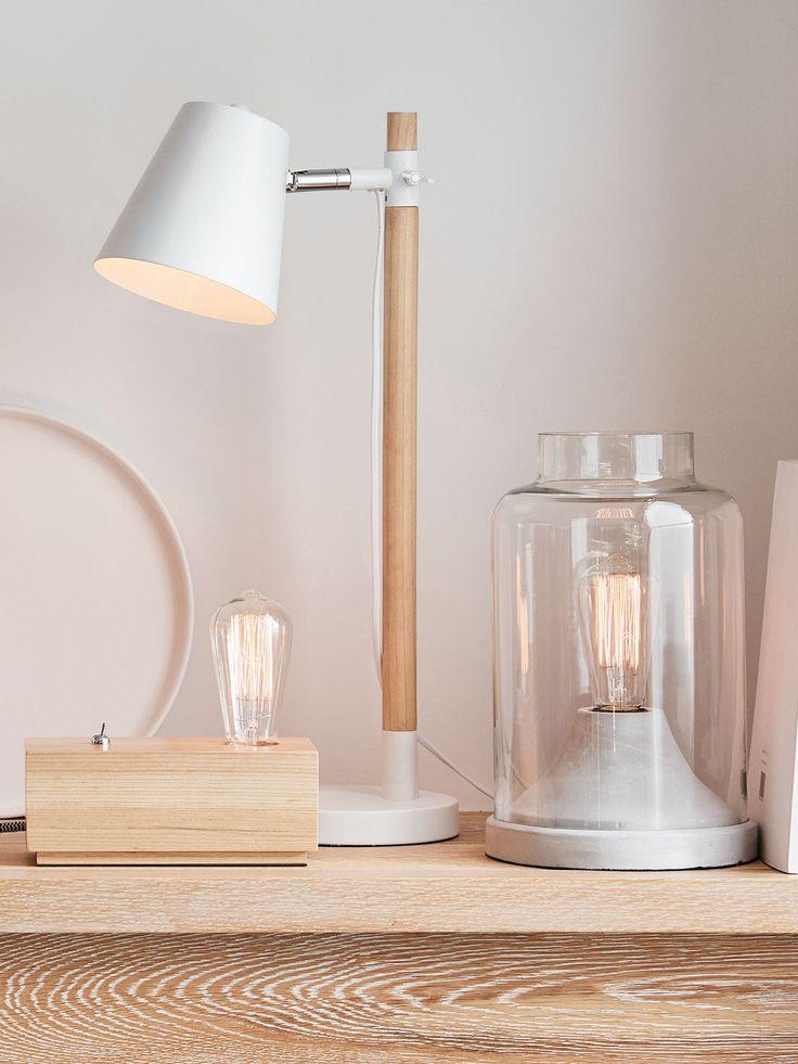 Willow 1 Light Table lamp in Ashwood/White