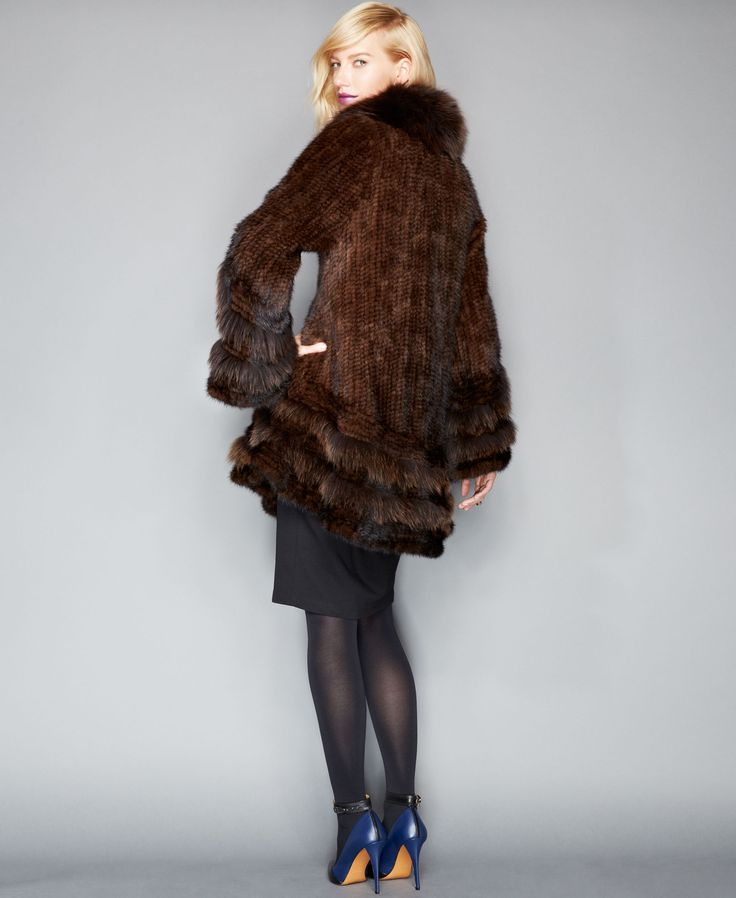 The Fur Vault Fox-Fur-Trimmed Mink Fur Swing Coat - Classic Beauty for the fashion minded woman. This is one to add to the wardrobe.