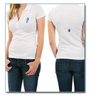 """SeaHorse-Collection, women's polo shirt in heavy piqué """"Drop on back design, 49,99€"""