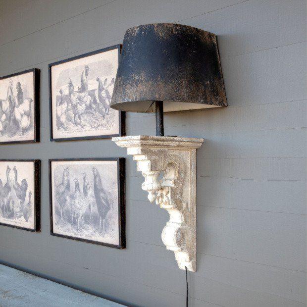 Rustic Corbel Sconce With Metal Shade Corbel Lighting Farmhouse Wall Sconces Decor Rustic Decor