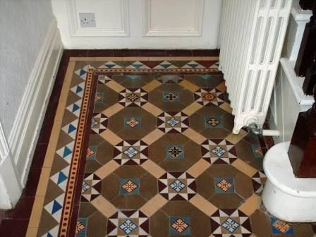 victorian tiles greys blue browns - Google Search