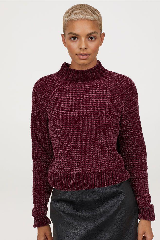ab143568c5 Rib-knit Sweater - Burgundy chenille - Ladies