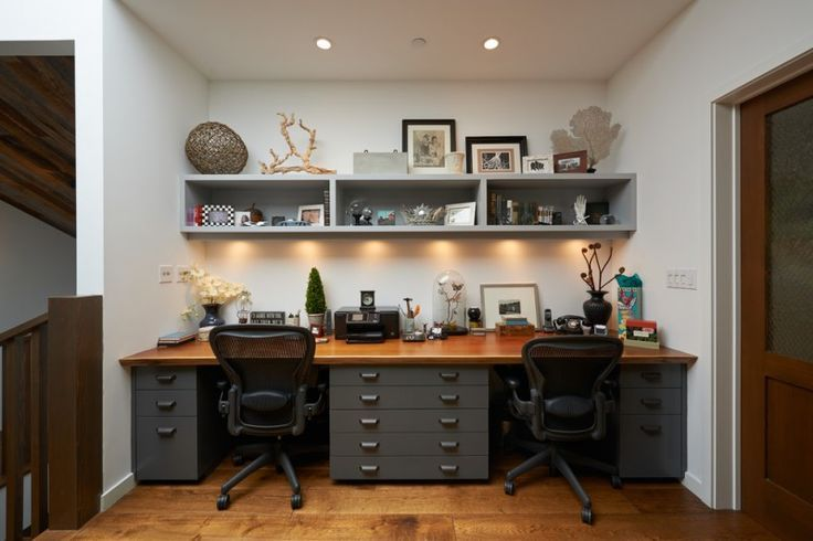 36 Inspirational Home Office Workspaces That Feature 2 Person Desks Tags Two Person Desk Diy Two P Shared Home Offices Home Office Space Home Office Furniture
