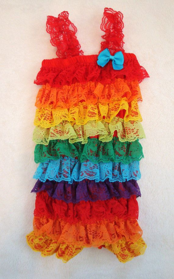 SALE Rainbow Lace Petti Romper-Baby Girl by LillyBowPeep on Etsy