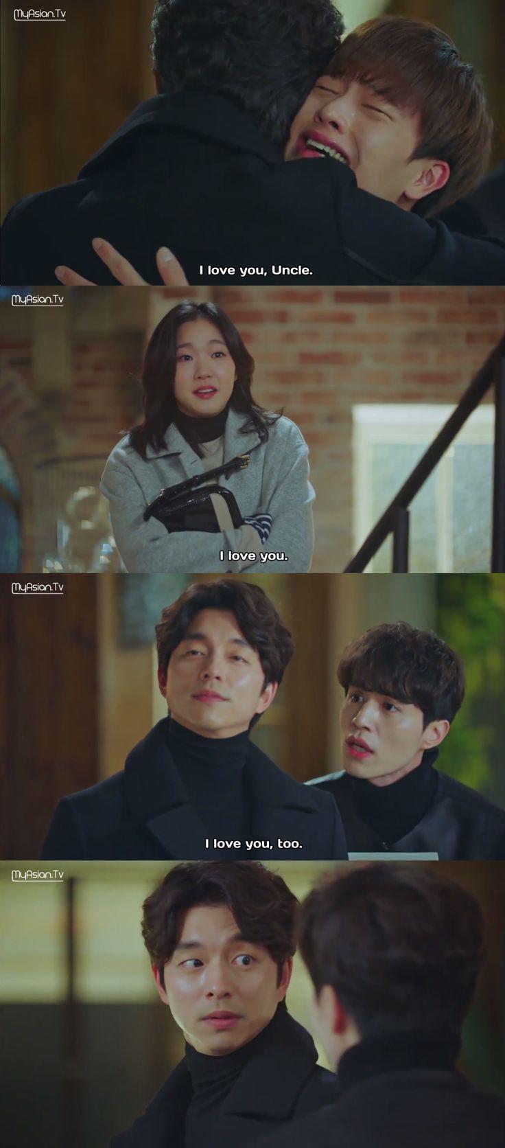 I love this scene! :D | Goblin | 도깨 | Yook Sungjae (Yoo Deok Hwa) / Kim Go Eun (Ji Eun Tak) / Lee Dong Wook (Wang Yeo) / Gong Yoo (Kim Shin)