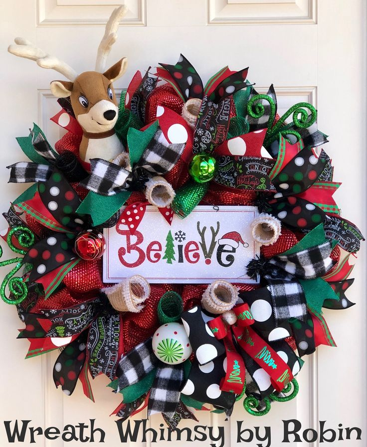 "Whimsical Holiday Deco Mesh Reindeer Wreath in Red, Emerald & Black with ""Believe"" sign, Christmas Wreath, Xmas Decor, Winter Wreath by WreathWhimsybyRobin on Etsy"