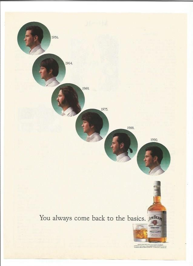 1989 Jim Beam Advertisement 1950s 50s 60s 70s 80s Mens Hair Styles Restaurant Bar Pub Hair Salon Hairdresser Barber Shop Wall Art Decor by fromjanet on Etsy https://www.etsy.com/listing/231928904/1989-jim-beam-advertisement-1950s-50s