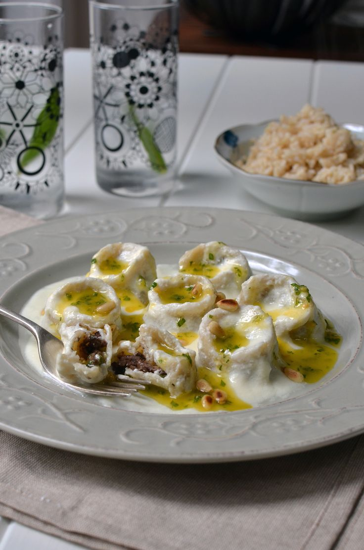 Shish barak - Middle Eastern hand pressed dumplings in yogurt and olive oil.