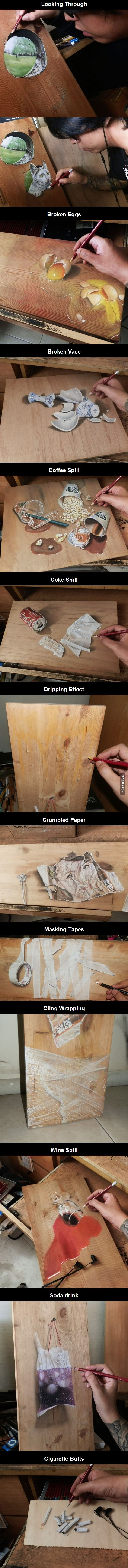 Photorealistic Pastel Drawings On Boards Of Wood. - 9GAG