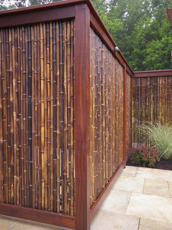 Asian Design Bamboo Fence - Perfect for providing privacy! Teek: this cold be cool with the foggy glass-like plastic behind it so no one can peek thru bamboo.