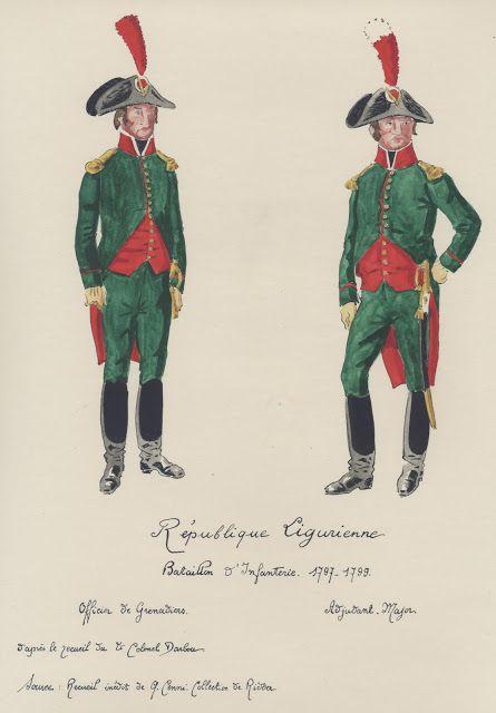 République Ligurienne Bataillon d'Infanterie 1797-99 Officier de grenadiers Adjudant Major