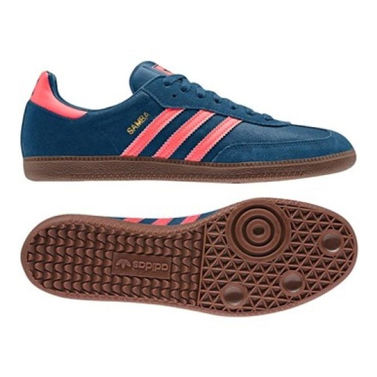 $58.49 | Indoor Soccer Shoes | Adidas Samba Originals Indoor Soccer Shoe (Tribe Blue/Red Zest/Gum)