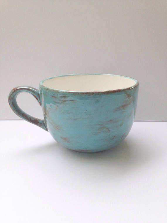 Huevo de petirrojo azul y marrón capuchino sopa taza  gran