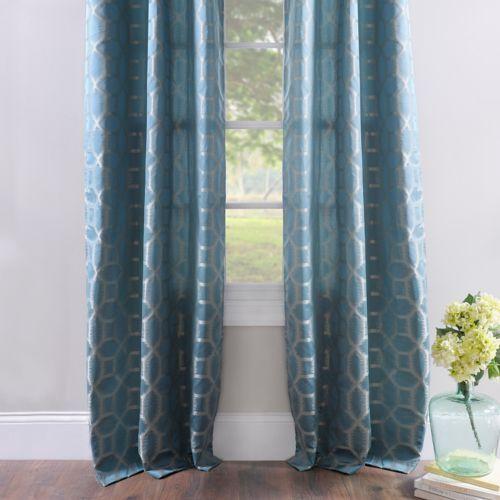 jaffa blue geometric curtain panel set 84 in