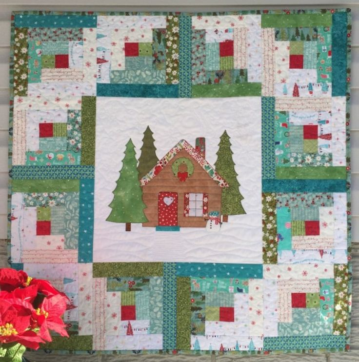 Log Cabin Wall Hanging Printed Quilt Pattern