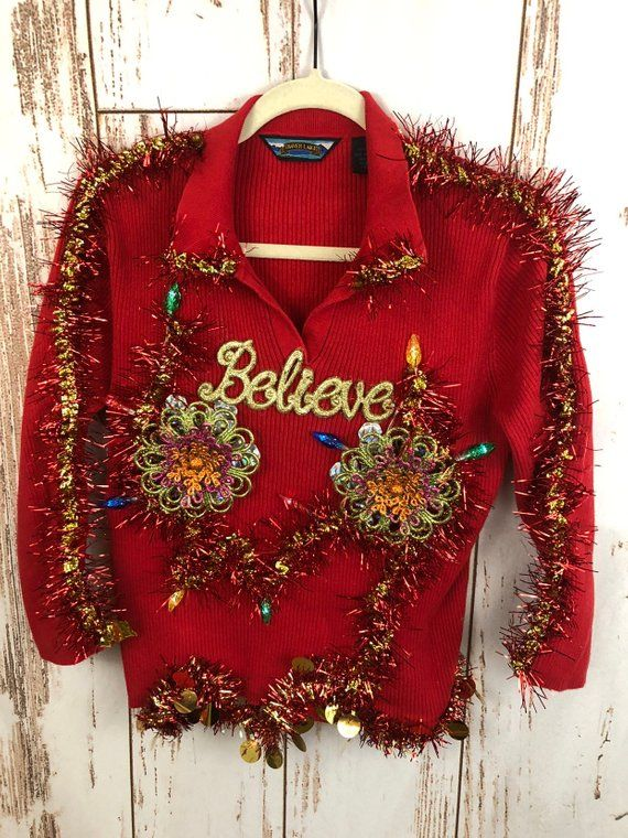 Tacky Ugly Christmas Sweater Glamorous Blingy Boobs Large