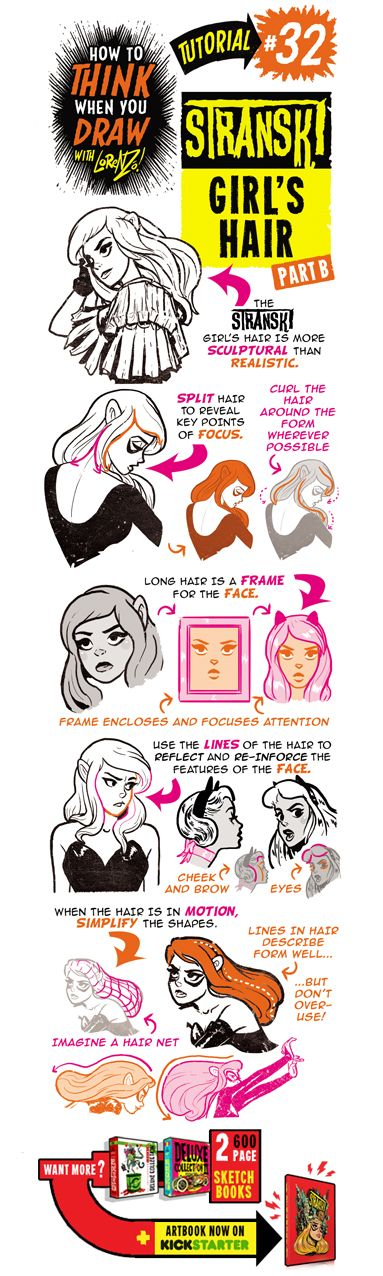 Here's the next of my special STRANSKI  tutorials, showing how to draw GIRL'S HAIR and HAIRSTYLES.   If you want more, here are TONS of tuto...