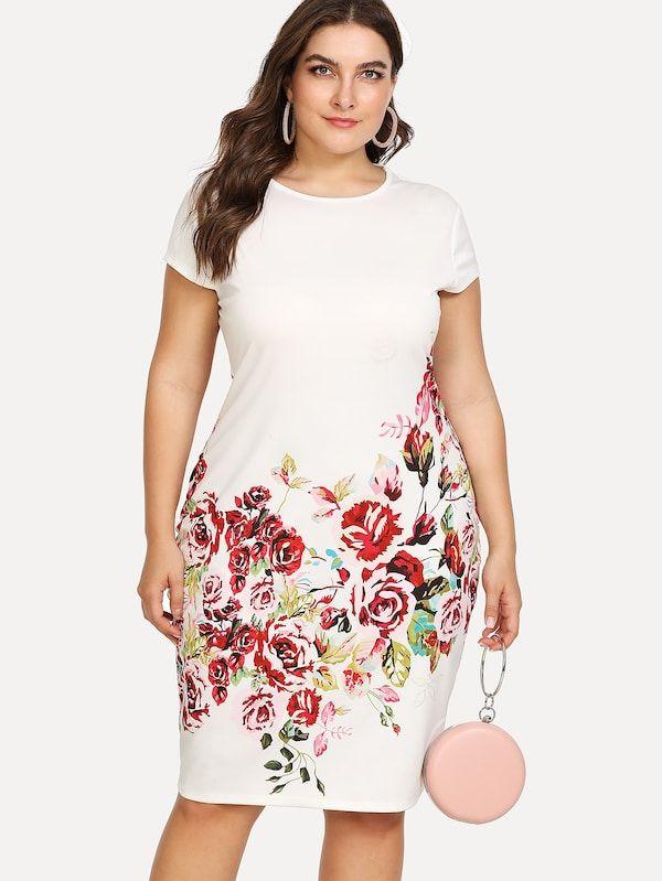 Plus Floral Print Pencil Dress Sheinsheinside In 2019