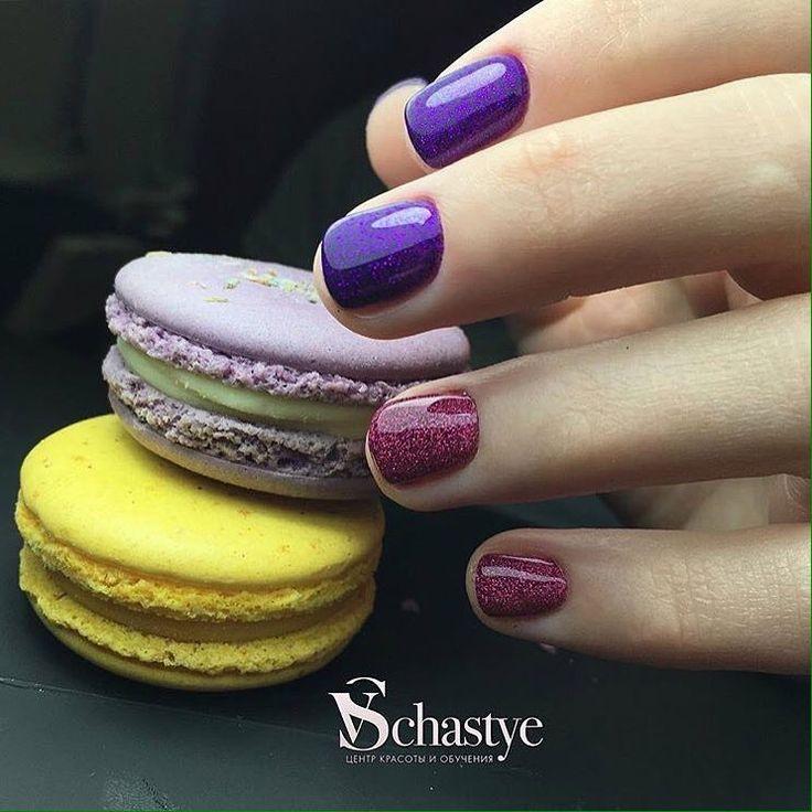Beautiful purple nails, brilliant nails, Brilliant polish nails, Glitter nails, Nails ideas 2017, Purple nails, Red nails ideas, Shellac nails 2017