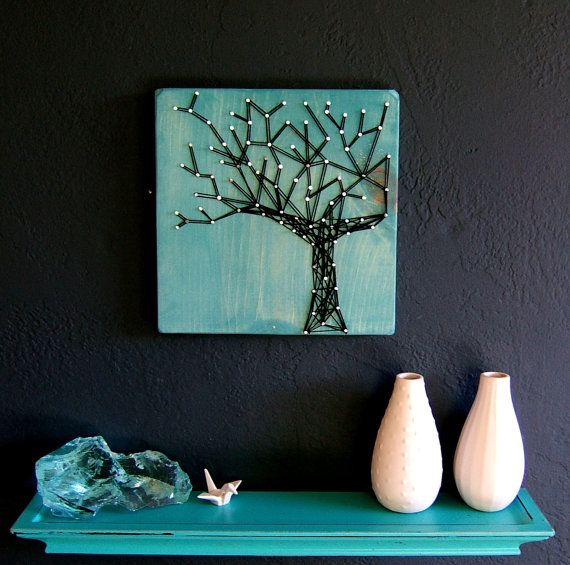 Modern String Art Wooden Tablet  Winter Oak on Cozumel by NineRed