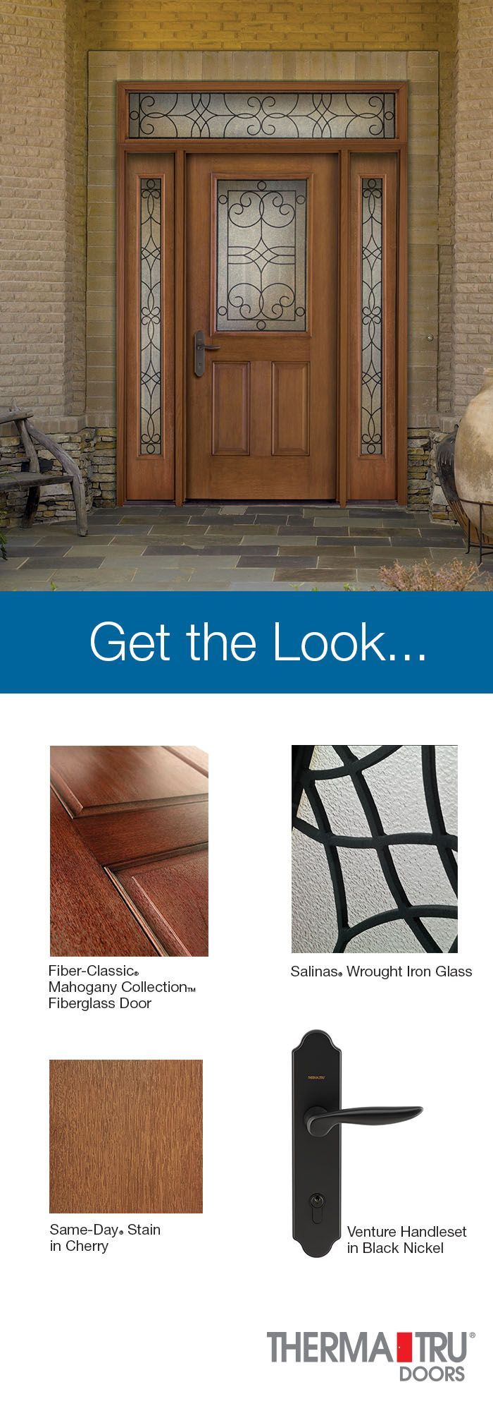 Therma-Tru Fiber-Classic Mahogany Collection fiberglass door with Same-Day Stain in Cherry and Salinas Wrought Iron decorative glass.