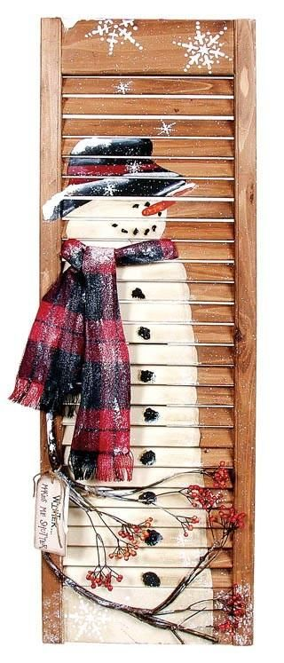 Repurpose shutter into snowman and hang your Christmas cards on it! Looks good painted bright red, too.