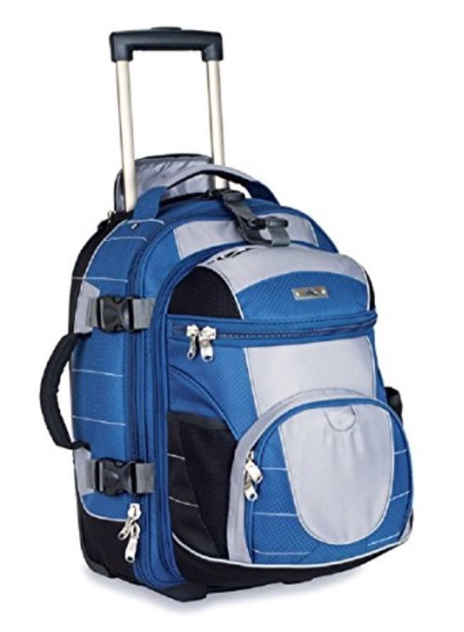NWT High Sierra A T Gear Ultimate Access Carry On Wheeled Backpack Blue Black #HighSierra
