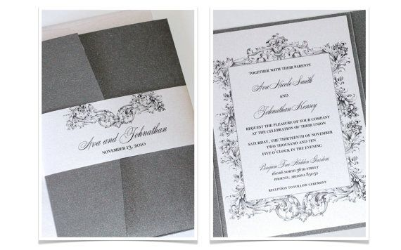 Vintage Wedding Invitation  Elegant Wedding by EmbellishedPaperie