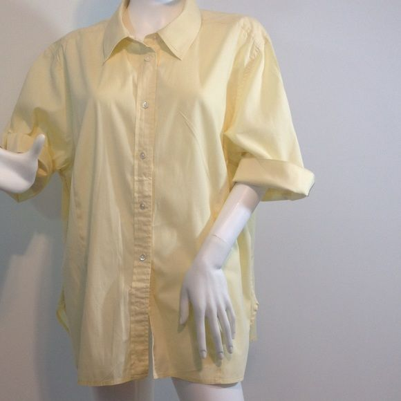 "Talbots pale yellow shirt, Sz. 20W stretch. Talbots pale yellow stretch Sz. 20W    Length 28"", bust 24"", hips 24"", sleeve w/ out cuff 14"". talbots Tops"