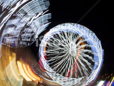 Ferris Wheel Abstract at Night by E.Sezer