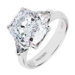 7,04 Carat Cushion Cut & τρισεκατομμύρια Diamond Platinum δαχτυλίδι GIA