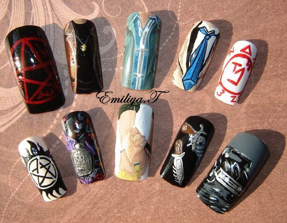 30 best my wedding nails images on pinterest supernatural nails handpainted fakefalse supernatural nails long by artifexdemundus nail art design prinsesfo Image collections