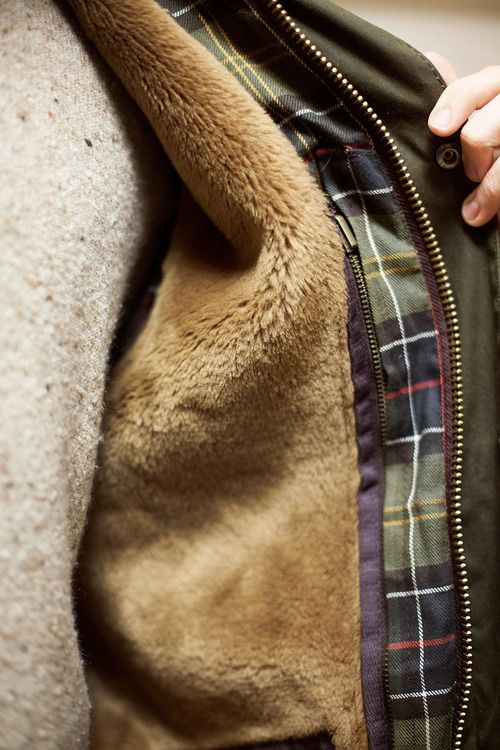 You must own these articles of clothing. Barbour Jacket. Sheepskin Liner. Shetland Sweater.