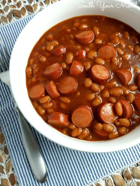 Family-friendly Franks & Beans! Make these on the stove or in a crock pot. Love me some Beanie Weenies!