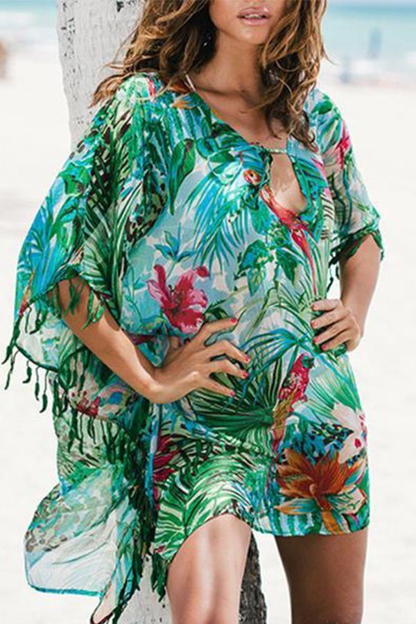 8bfc4e43c25b8 Bohemian V Collar Green Leaves Printing Beachwear in 2019 | Women's ...