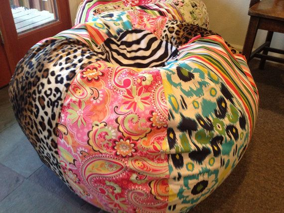 Funky Bohemian Paisley Ikat Zebra And Leopard Bean Bag Chair