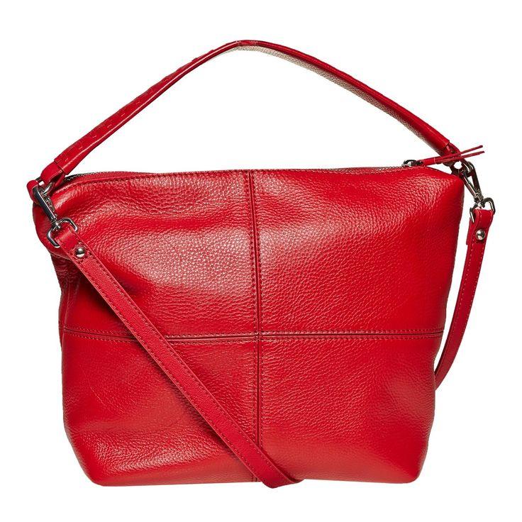 Borsa rossa in pelle in stile Hobo bata, rosso, 964-5121 - 26