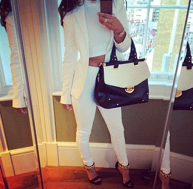 All white with black pumps