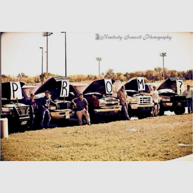 This How I want to be asked to prom. :) But just with 70s to 80s chev trucks.
