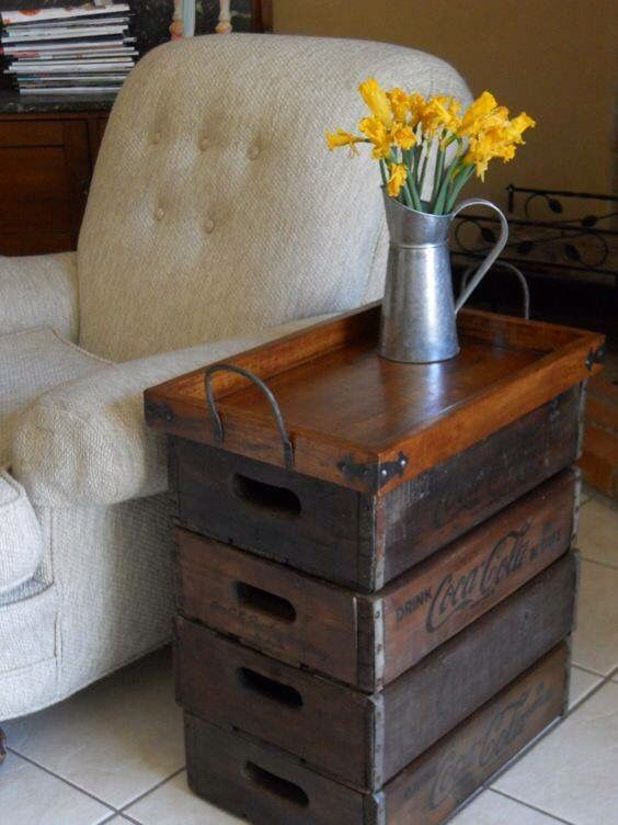 Soda crate & tray as side table