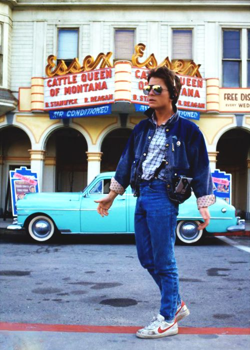 Michael J. Fox behind the scenes of Back to the Future (1985)