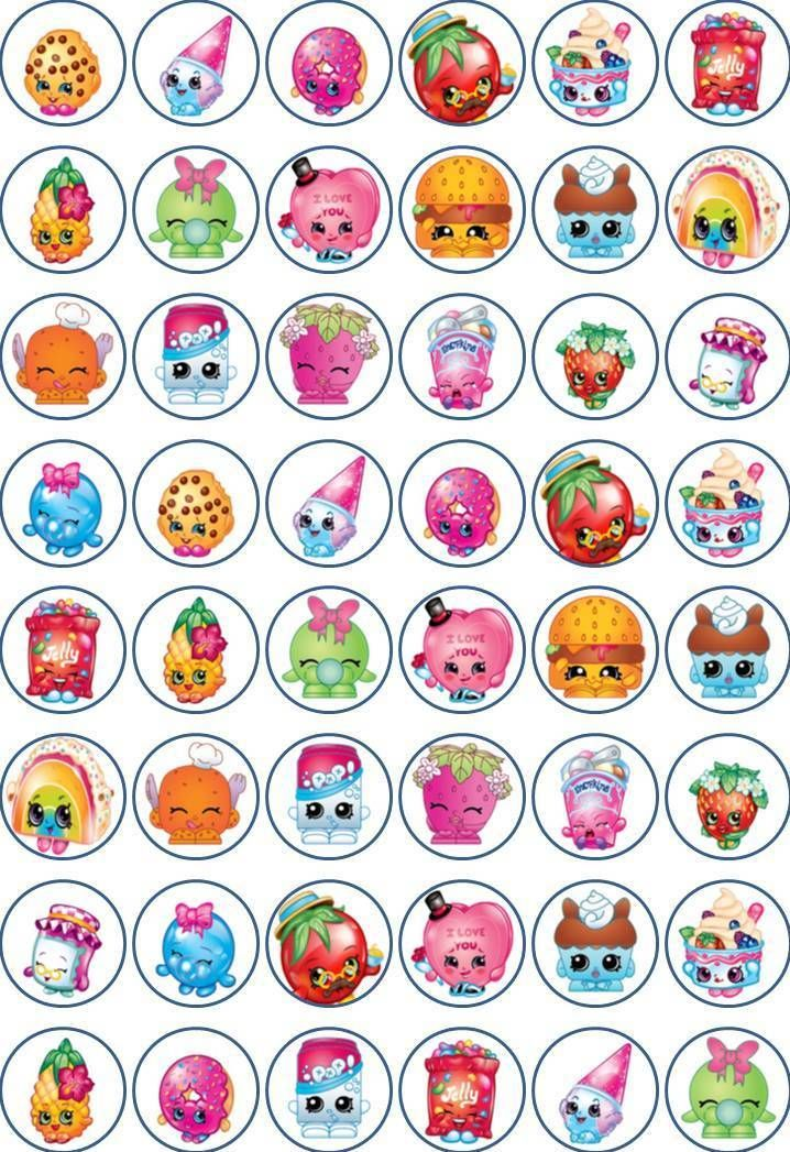Shopkins 48 X 3cm Cupcake Toppers Edible Rice Paper In