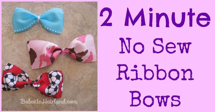 2 Minute No Sew Ribbon Bows - This is an easy-to-follow tutorial.  Yep -it's true, no glue!...J  (also, this is a great website for fabulous hair styles for girls)
