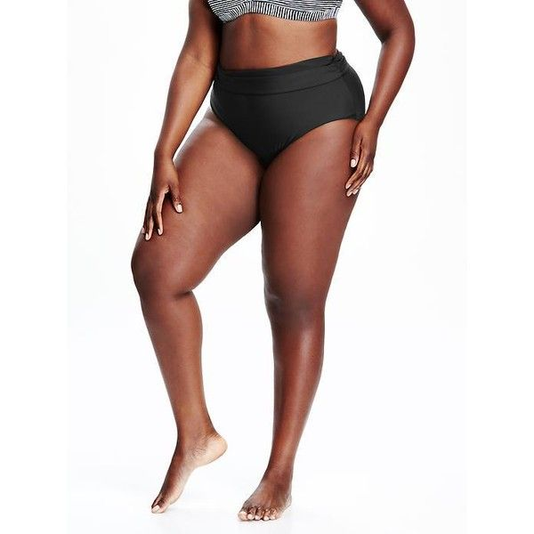 Old Navy Fold Over Plus Size Swim Bottoms ($27) ❤ liked on Polyvore featuring plus size women's fashion, plus size clothing, plus size swimwear, plus size bikinis, plus size bikini bottoms, black, plus size, plus size beach wear, old navy and plus size two piece