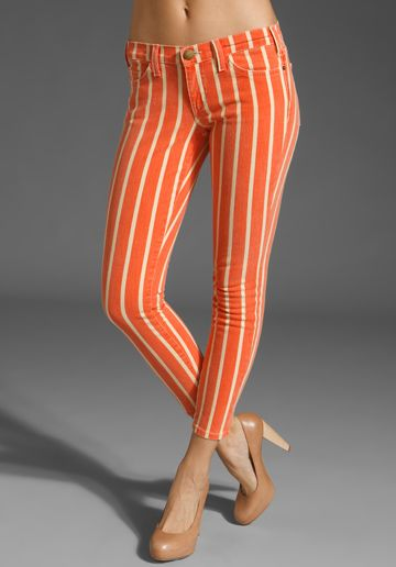 these pants are awesome: Stripes Pants, Skinny Jeans, Orange Pants, Prints Denim, Stilettos, Skinny Pants, Orange Stripes, Fashion Bloggers, Flats Sandals