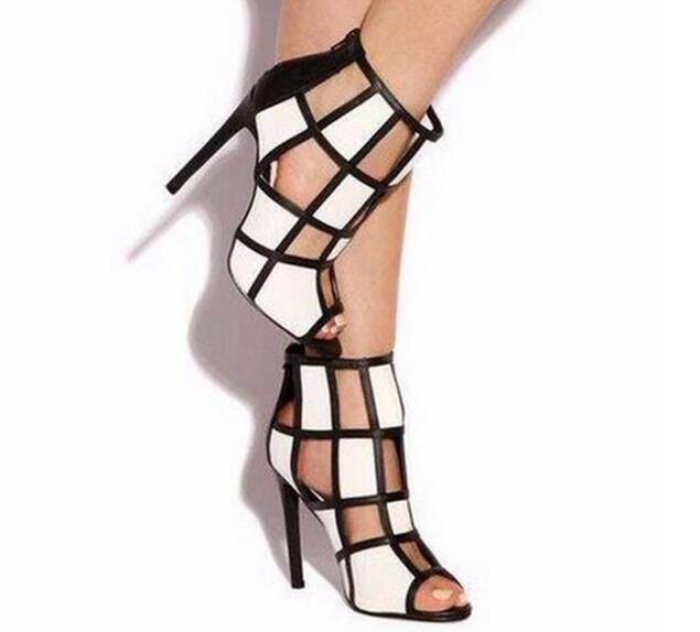 2017 Fashion Black and White Women Shoes Spring/Autumn Plaid Cut-Outs Dress  High Thin Heels Peep Toe Elegant Pumps Free Ship